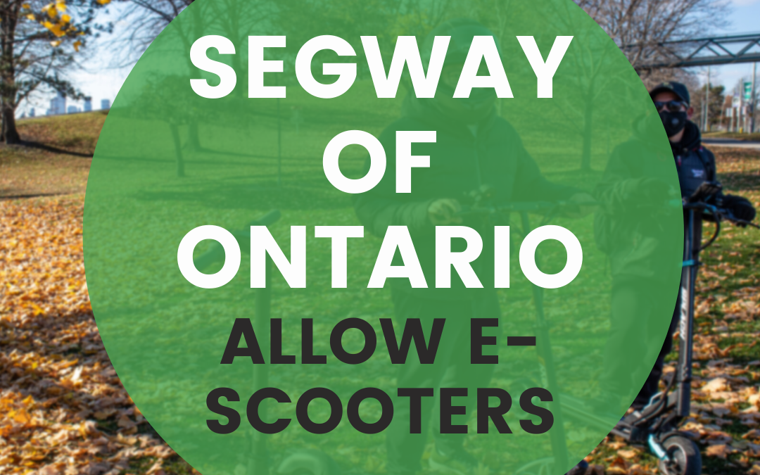 Use Segway of Ontario's form letter to let Toronto City Council know why they should allow privately owned electric scooters on Toronto streets.